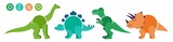 Fototapeta Dino - Set of cartoon dinosaurs characters - t rex etc