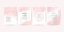 Luxury Wedding Invitation Card Template With Minimal Watercolour And  Rose Gold Geometric Frame Decoration - Vector.