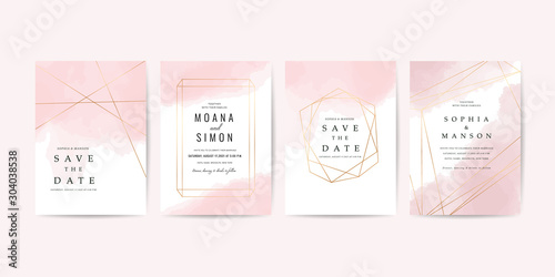 Luxury Wedding Invitation Card template with Minimal watercolour and  rose gold geometric frame decoration - Vector Wallpaper Mural