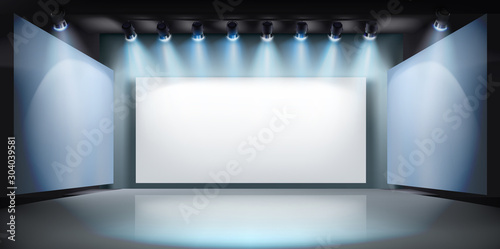 Obraz Show in art gallery. Projection screen on stage. Free space for advertising. Vector illustration. - fototapety do salonu