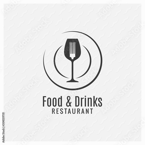 Food and drinks restaurant menu. Plate with fork Tableau sur Toile