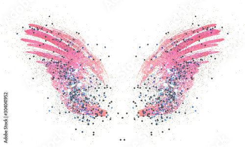 Foto auf Leinwand Formen Blue glitter on abstract pink watercolor wings on white background, beautiful shiny feathers