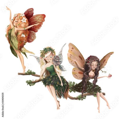 Carta da parati Cute hand drawn fairy in floral wreath, sitting on the tree, woodland watercolor