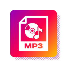 White MP3 File Document. Download Mp3 Button Icon Isolated On White Background. Mp3 Music Format Sign. MP3 File Symbol. Square Color Button. Vector Illustration