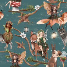 Cute Hand Drawn Fairies With Forest Animals - Wolf, Deer, Fox And Bunny Seamless Pattern. Woodland Watercolor Illustration