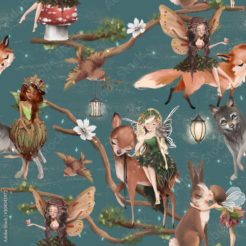 Fototapeta Wróżki   cute-hand-drawn-fairies-with-forest-animals-wolf-deer-fox-and-bunny-seamless-pattern-woodland