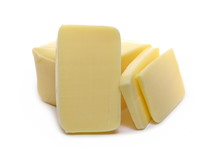 Cheese Block With Slices Isola...