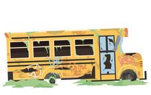 Abandoned School Bus Illustration