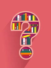 Question Mark Book Shelf Illus...