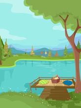 Picnic By The Lake Illustration
