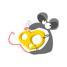 Cartoon Rat With Cheese Heart. Isolated On White Background.