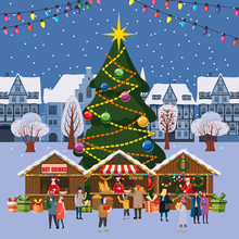 Christmas Village, Winter Town, Souvenirs Market Stalls With Decorations Souvenirs And Bakery