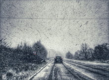 Driving In A Heavy Snow Blizza...