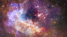 Flying In Space Nebula 4K Through A Star Field. For Scientific Films And Cinematic In Space. Good Background For Scene And Titles, Logos. Based On Real Public-domain Images Taken By NASA, ESA, ESO