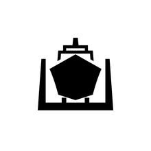Ship In Dry Dock Black Icon. C...