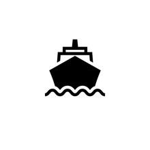 Cruise Ship Front Black Icon. ...