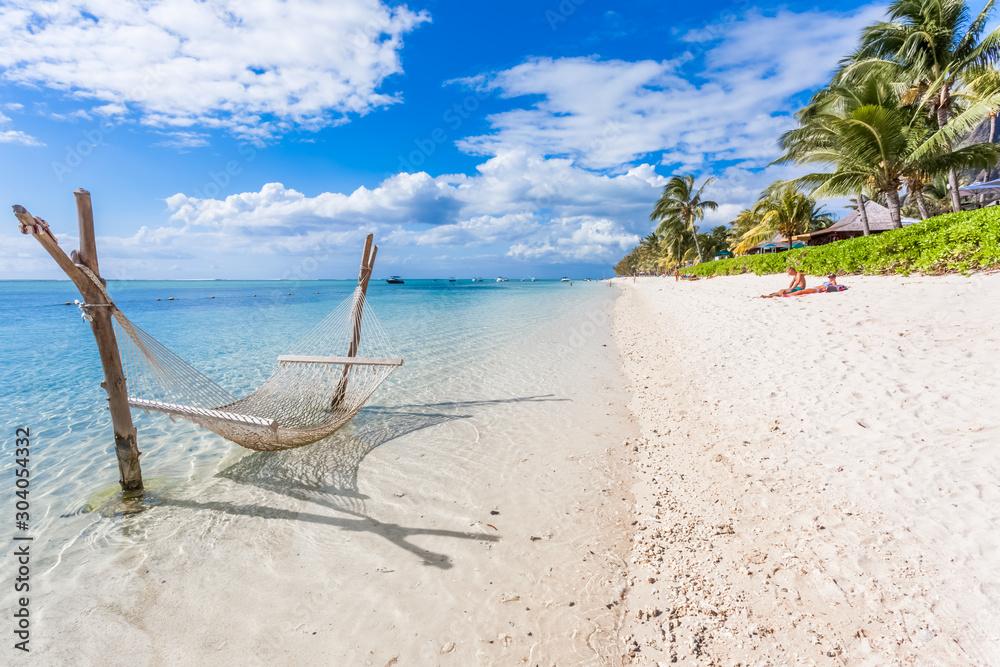 Fototapeta beach on tropical island, Morne Brabant, Mauritius