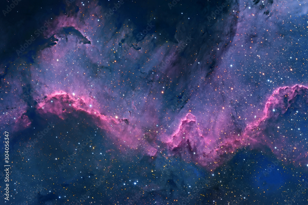 Fototapeta Blue space nebula with stars. Elements of this image furnished by NASA