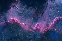 Blue Space Nebula With Stars. ...