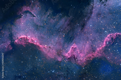 Blue space nebula with stars. Elements of this image furnished by NASA