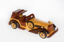 Wooden Retro Car Isolated On A...