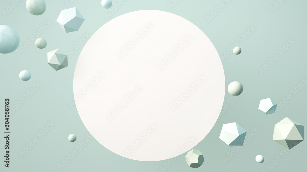 Fototapeta Blank template for flyer or advertisement. White space on abstract background. Geometric forms and primitive shapes on pastel colors background. 3D rendering