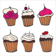 Set Of Sketches Cupcakes Or Ca...