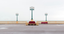 Promenade Over Atlantic Ocean / Sea With Three Street Lamps And Benches In Porto. Vintage. Retro. Wes Anderson Style