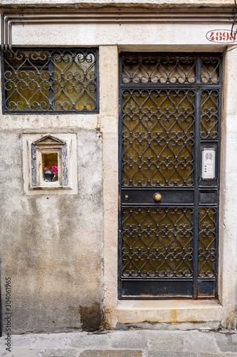 Venice, Italy. Steel antique door. Canvas Print