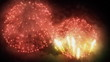Festive bright fireworks in the night sky. Shining golden lights and explosions on new year, christmas or independence day celebration show. Bright particles on black 3D render.