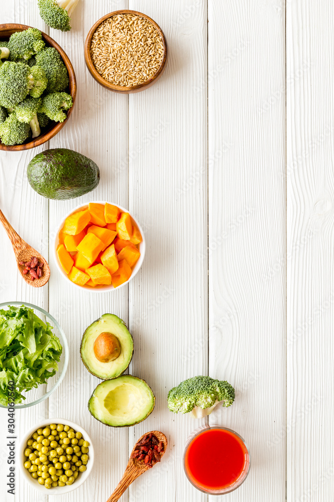 Fototapety, obrazy: Healthy food. Vegatables and fruits on white wooden background top view frame copy space