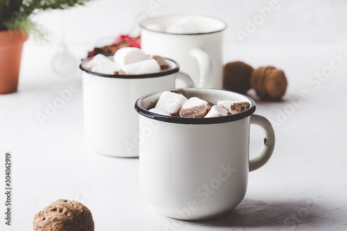 Foto auf Leinwand Schokolade Hot chocolate, cocoa on the festive white wooden table