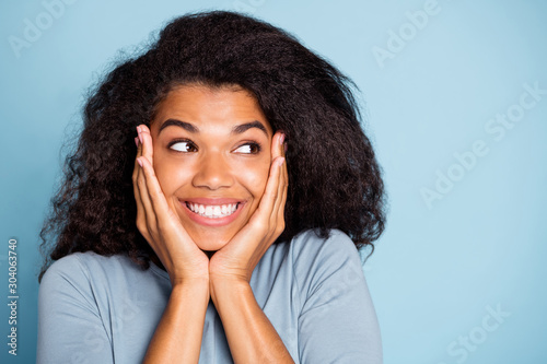 Close up photo of cheerful positive nice pretty cute sweet girlfriend smiling to Canvas Print