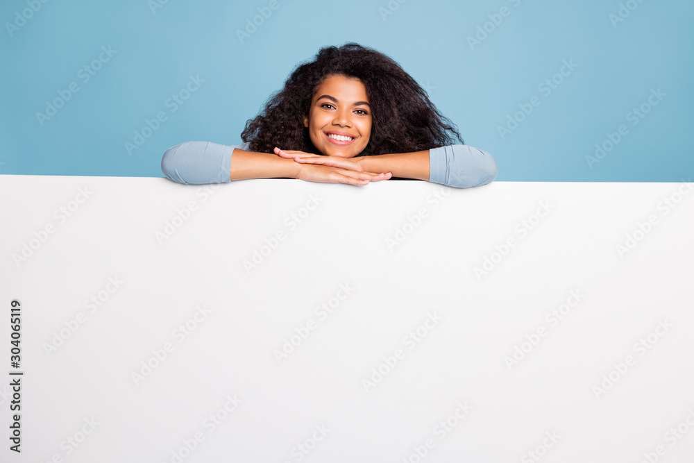 Fototapety, obrazy: Photo of white, positive nice pretty sweet girlfriend leaning on to white blank banner smiling toothily beaming isolated pastel blue color background