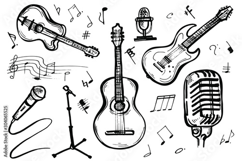 Music Doodle Vector Set Фотошпалери