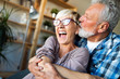 canvas print picture - Cheerful senior couple enjoying life and spending time together