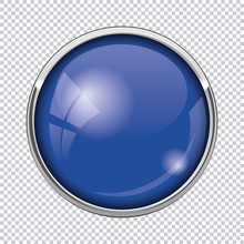 Blue Round Button Isolated On ...