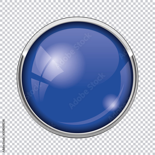 Fotomural blue round button isolated on transparent background