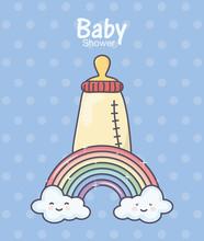 Baby Shower Feeding Bottle Rainbow Clouds Polka Dot Background