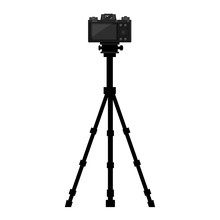 Camera On Tripod With Back Side Screen View. Vector Illustration.