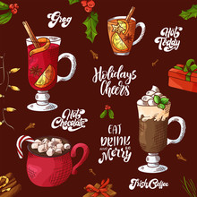Winter Hot Drinks. Set Of Hand Drawn Sketch. Can Be Used For Bar Menu, Card, Flyer, Poster. Christmas Lettering. Vector Illustration