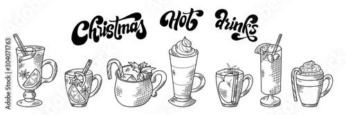 Cuadros en Lienzo  Set of hot winter drinks