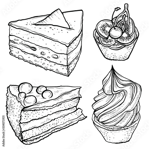 Fototapeta Hand drawn sketch of tart, slice of cake.