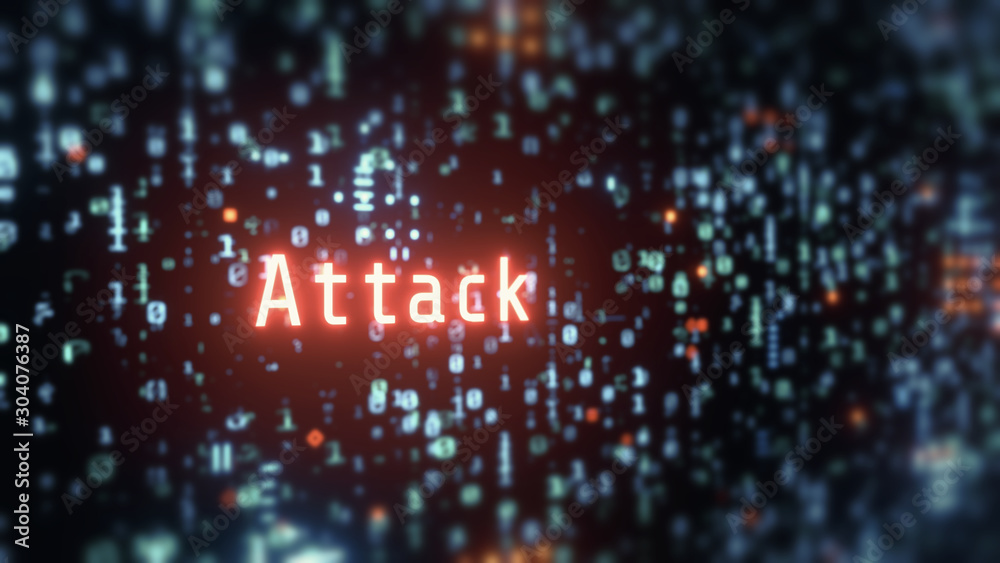 Fototapeta 3D Rendering of wording attack in glowing red color with blur binary background. Concept of  business security. Corporate, large scale organization control to protect customer data. Hacker, virus.