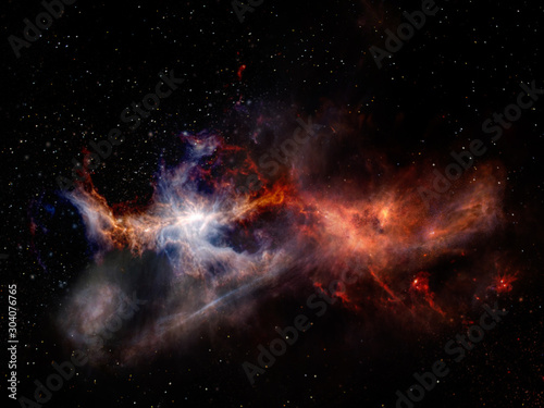 Obraz Struggle of the two elements in outer space. Landscape with stars and nebulae of red and blue colors. Elements of this image furnished by NASA. - fototapety do salonu