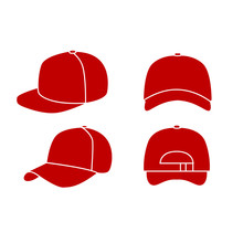Set Of Red Baseball Hat Logo I...