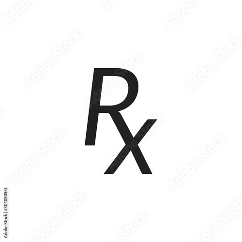 Rx prescription medical symbol isolated on a white background. Canvas Print