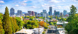 canvas print picture - Classic panoramic view of famous Portland skyline with busy downtown scenery, colorful leaves and iconic Mount Hood in the background on a beautiful sunny day in fall, American Northwest, Oregon, USA