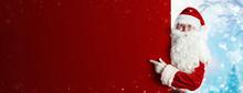 Santa Claus Holding Blank Adve...