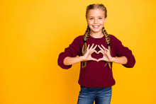 Portrait Of Her She Nice Attractive Lovely Cute Cheerful Cheery Glad Kind Pre-teen Girl Showing Heart Peace Gesture Isolated Over Bright Vivid Shine Vibrant Yellow Color Background